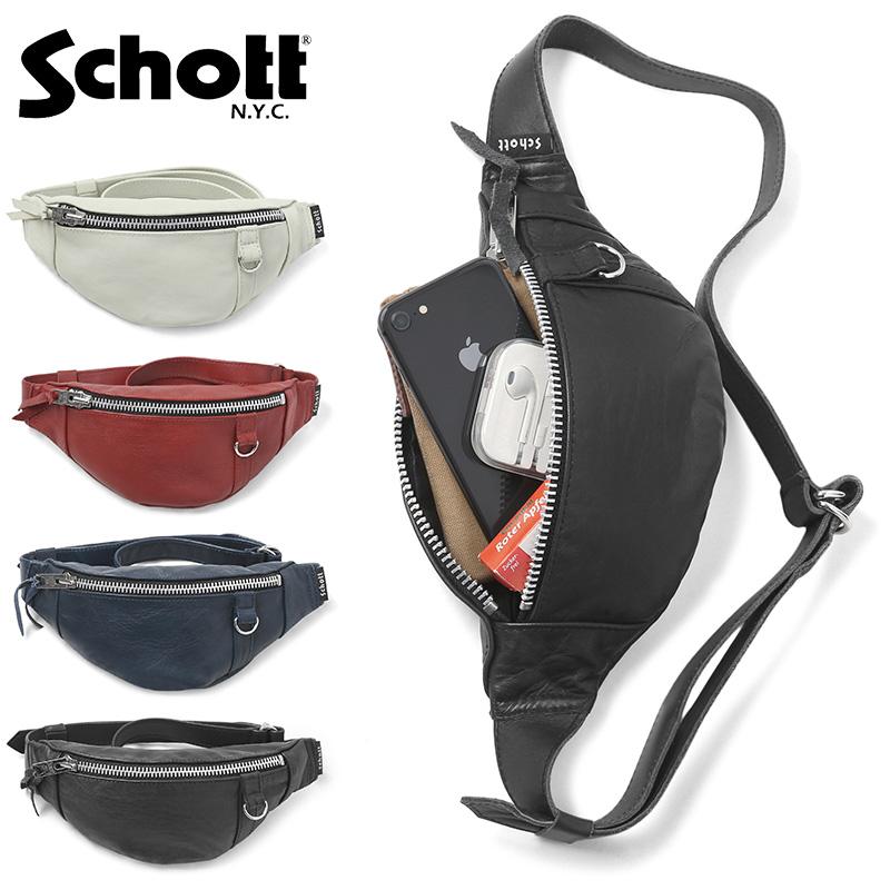Schott ショット 3189028 レザー スモール ボディバッグ【新生活 新学期 買い替えに】 WIP メンズ ミリタリー【クーポン対象外】