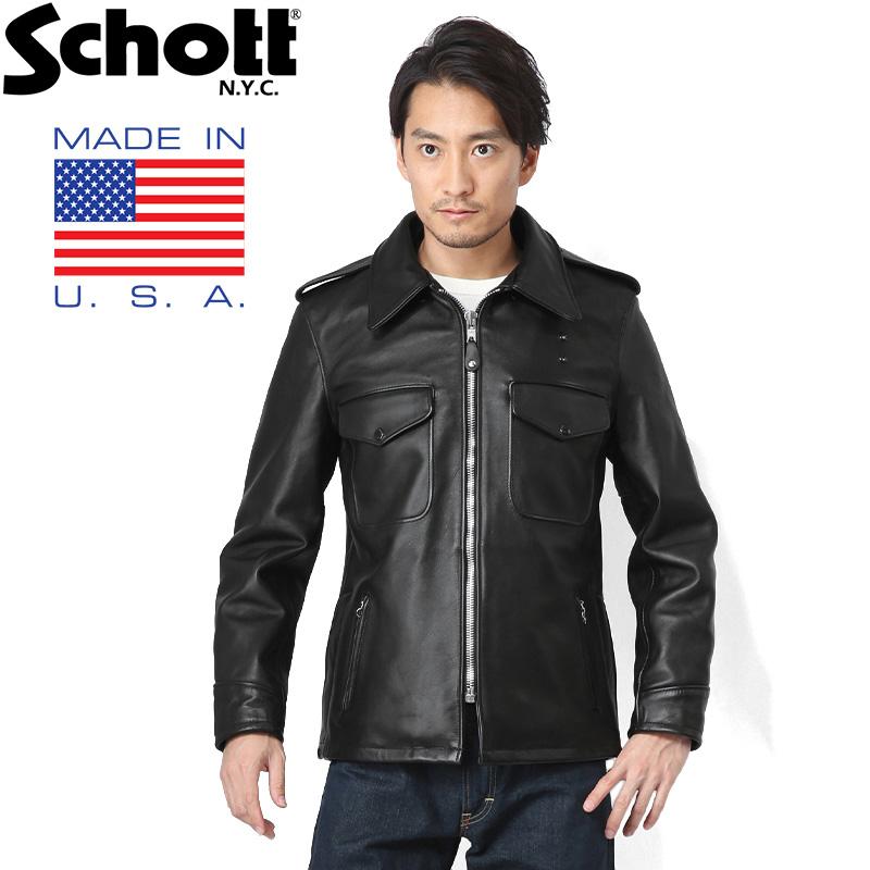 Schott ショット 602US レザーポリスマンジャケット 7167 BLACK WIP メンズ ミリタリー アウトドア ブランド 革ジャン レザージャケット ライダースジャケット【新生活 新学期 買い替えに】【クーポン対象外】