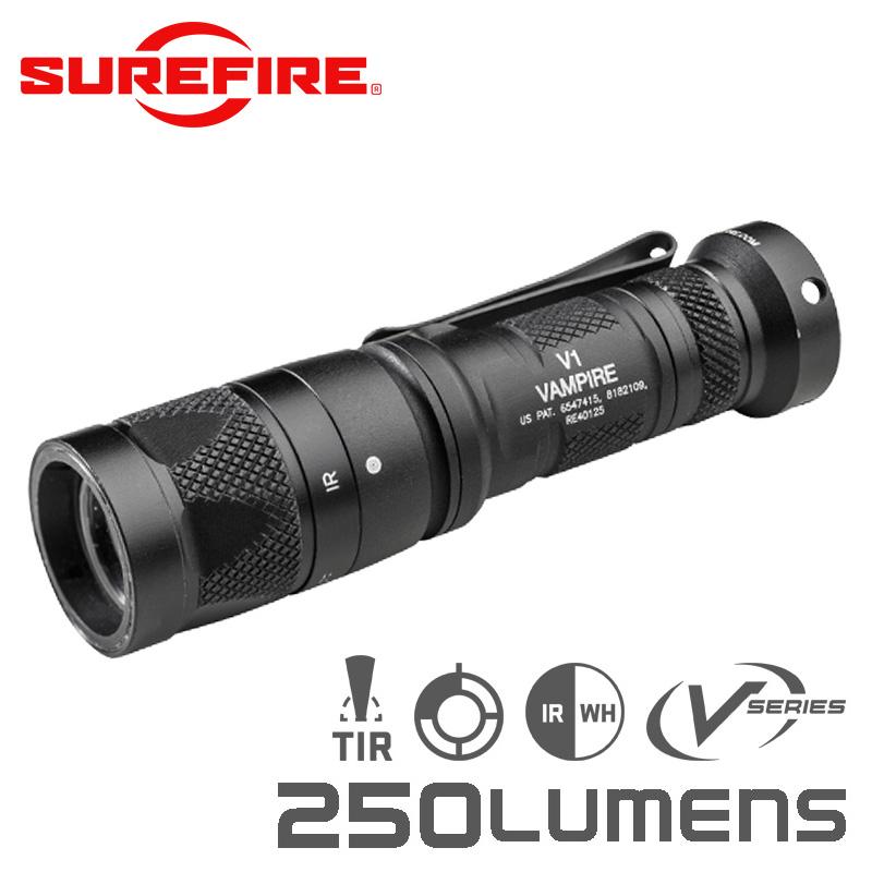SUREFIRE シュアファイア V1 Vampire Dual-Output LED White and IR Output フラッシュライト / 250ルーメン(V1-B-BK)【クーポン対象外】 夏 敬老の日