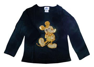 激レア カリフォルニアディズニーリゾート 50周年記念 金のスパンコールのミッキーの長袖Tシャツ 黒(レディースS)