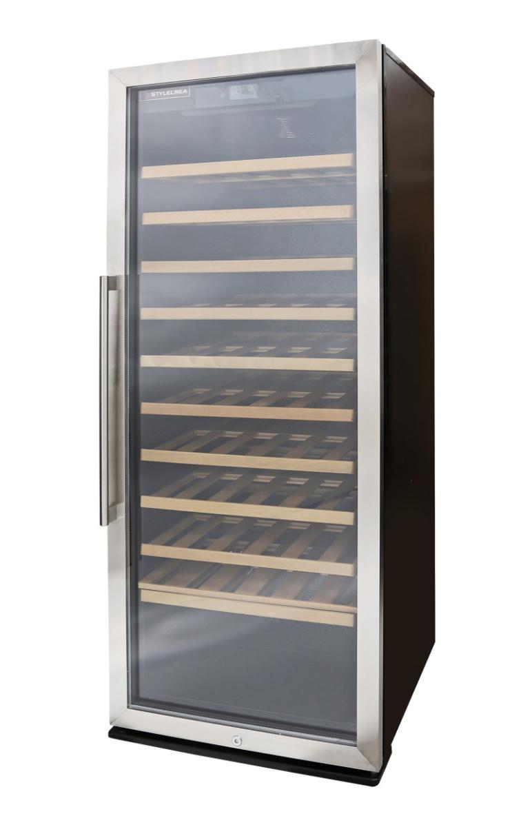 ワインセラー【STYLECREA/スタイルクレア】SCー127(ガラス扉)127本収納/温度管理/湿度管理/ヒーター機能/電子タッチパネル/木製棚