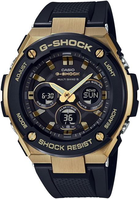 ------------------------- 全国送料無料 祝開店大放出セール開催中 国内正規品 ------------------------ CASIO 最新 腕時計 G-SHOCK ジーショック GST-W300G-1A9JF マルチバンド6ミドルサイズ ブラック 電波ソーラー ゴールド G-STEEL