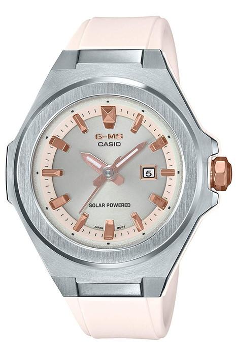 CASIO 腕時計 BABY-G ベビージーG-MS(ジーミズ)   ソーラー【MSG-S500-7AJF】   シルバーベゼル×パールベージュバンド