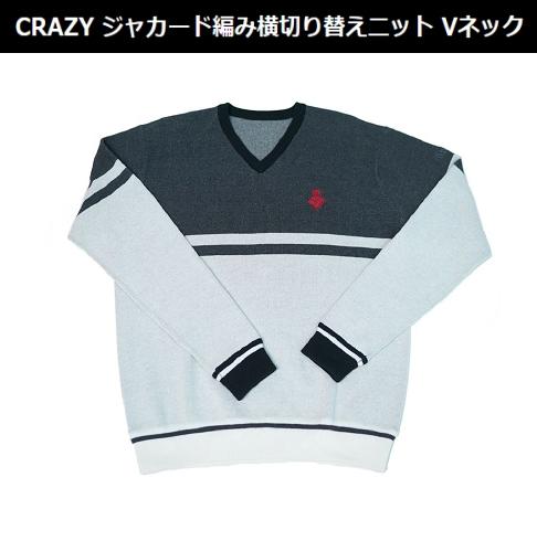 【NEW・激レア】CRAZY ジャカード編み横切り替えニット Vネック 新品!