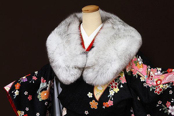 ショール フォックス 成人式 振袖 洋装 ブルーフォックス毛皮ショール
