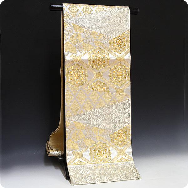 正絹西陣織袋帯【浅田叡一織物謹製】列取唐草文様・銀地
