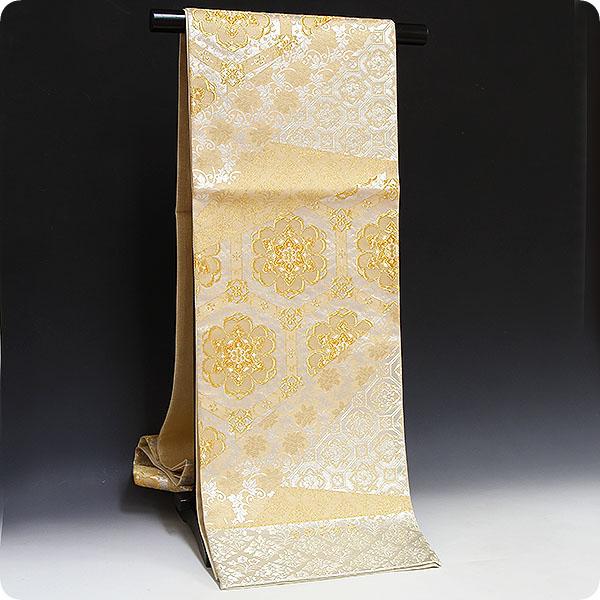 正絹西陣織袋帯【浅田叡一織物謹製】天井格子唐草文様・銀地