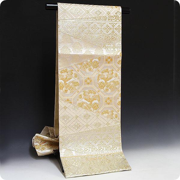 正絹西陣織袋帯【浅田叡一織物謹製】亀甲格子唐草文様・銀地