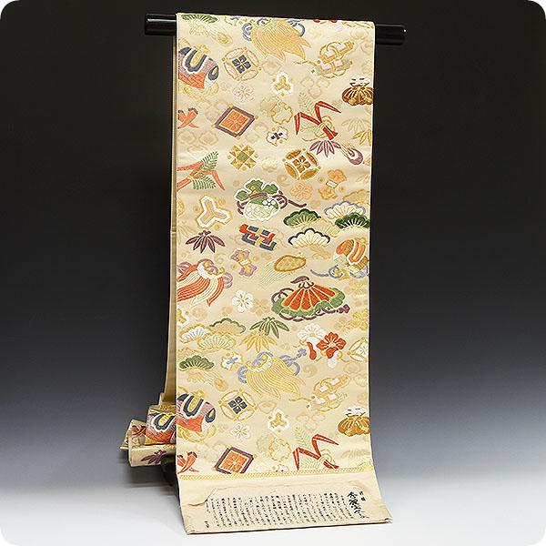 袋帯 礼装用 正絹 西陣織【白寿苑謹製・唐織・秀麗宝尽し文】『美しいキモノ掲載柄』