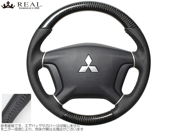 REAL ブラックカーボン [パジェロ V83W/V93W/V87W/V97W/V98W/V88W] レアルステアリング オリジナルシリーズ ブラックカーボン 新品