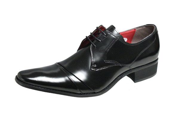 メンズシューズ ブラックリスト6003ブラック ロングノーズビジネスシューズ本革紳士靴