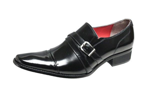 メンズシューズ ブラックリスト6005ブラック ロングノーズビジネスシューズ折返しベルト付本革紳士靴スリッポン