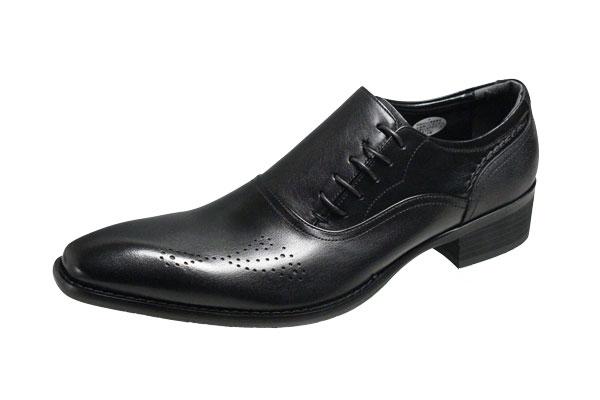 エルオムメンズシューズ7219ブラックELLEHOMME サイドレースアップビジネスシューズ紳士靴4cmカカトの足長デザイン