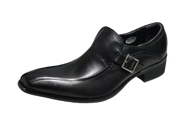 エルオムメンズシューズ7221ブラックELLEHOMMEスワールモカスリッポン4cmカカトの足長デザイン紳士靴