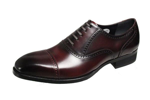 エルオムメンズシューズ7205バーガンディストレートチップビジネスシューズ本革紳士靴
