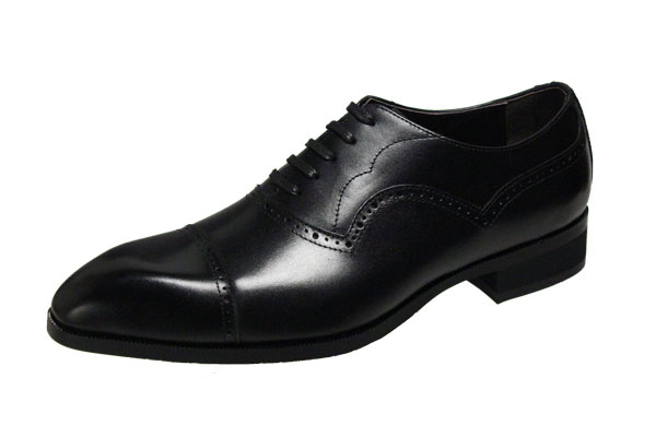 エルオムメンズシューズ7214ブラックストレートチップビジネスシューズスタイリッシュな紳士靴