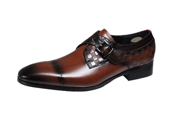 フランコルッチメンズシューズFRANCO LUZI本革モンクストラップ紳士靴th02ブラウン