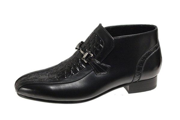 登場大人気アイテム 送料無料マドラスルテシアショートブーツ約9cmの筒丈おしゃれなメンズブーツ 在庫限り チャッカーブーツ3010ブラック紳士靴クロコダイル型押牛革ビット付スリッポン