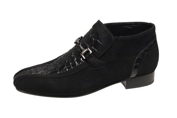 送料無料マドラスルテシアショートブーツ約9cmの筒丈おしゃれなメンズブーツ チャッカーブーツ3010ブラックスエード紳士靴クロコダイル型押牛革ビット付スリッポン 返品不可 至高