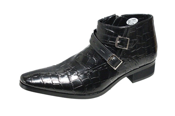 マドラスメンズブーツ 6509ブラック クロコダイル型押し革使用深さ約9cmのロングノーズオシャレブーツ