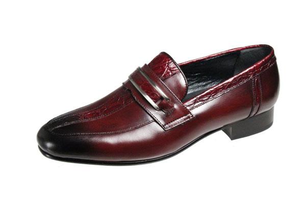 イタリアンエレガンスのメンズシューズ3006マドラスルテシア紳士靴クロコダイルの型押し革とスムース革のコンビスリッポン