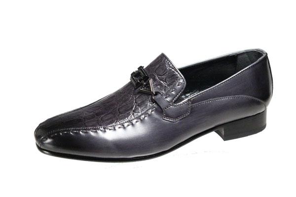 SALE 送料無料メンズシューズクロコダイルの型押し革を使用したおしゃれな紳士靴スリッポン 『1年保証』 マドラスメンズシューズ3008ダークグレーlutecia素材と製法にこだわったイタリアンエレガンスの紳士靴