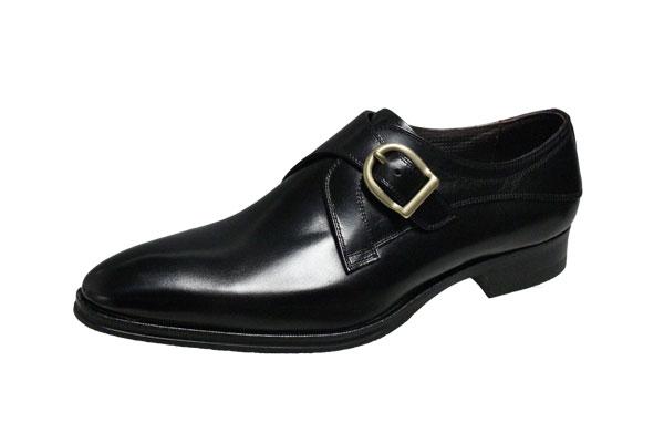 マドラスメンズシューズ412ブラック紳士靴モンクストラッププレーンビジネスシューズ