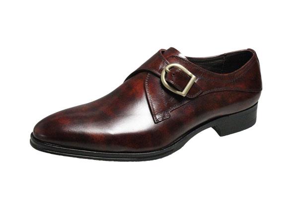マドラスメンズシューズ412ダークブラウン紳士靴モンクストラッププレーンビジネスシューズ