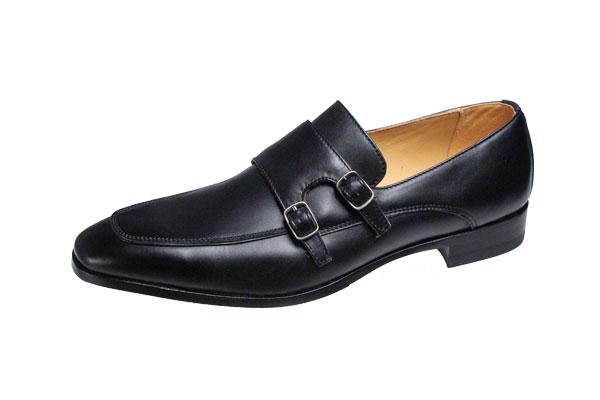 マドラスメンスシューズダブルモンクストラップUチップの紳士靴ゴアテックス使用で雨の日の安心高級感のあふれる本格作りのメンズドレスビジネスシューズM154Gブラック
