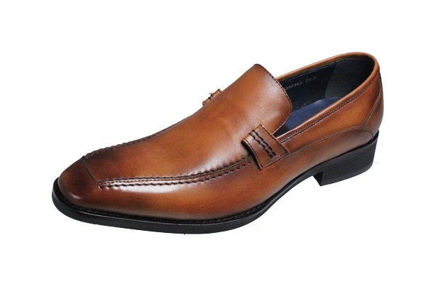 マドラスモデロメンズシューズ MODELLO 紳士靴Uモカスリッポン342ライトブラウン