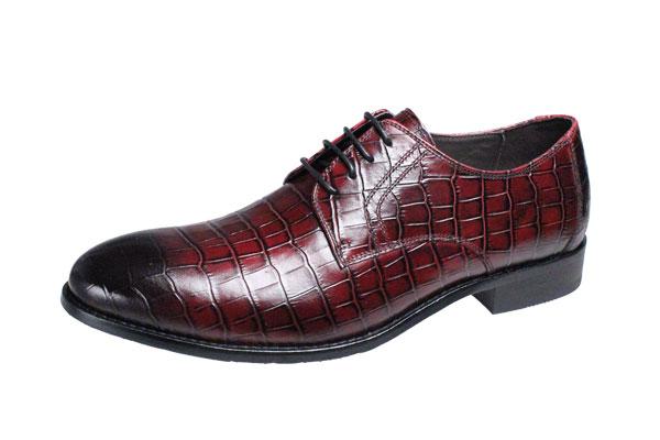 マドラスモデロメンズドレスシューズmodelloクロコダイル型押し革使用紳士靴385レッド