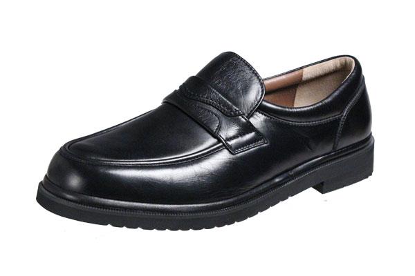 モーガンクイーン424ブラック5E(F)の超幅広カジュアルシューズMORGAN QUINNシープ革使用紳士靴