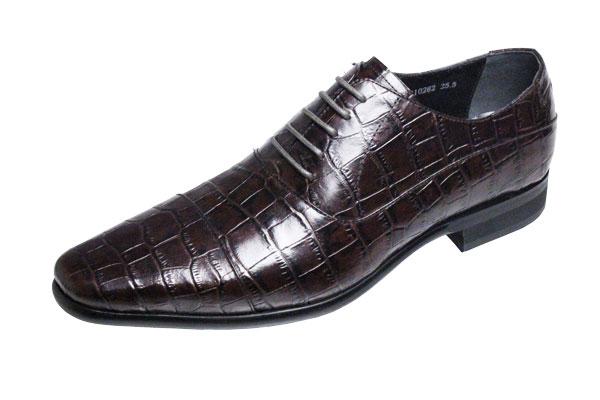 トラサルディメンズシューズ10262ワイン【trussardi】クロコ型押革使用ストレートチップ紳士靴