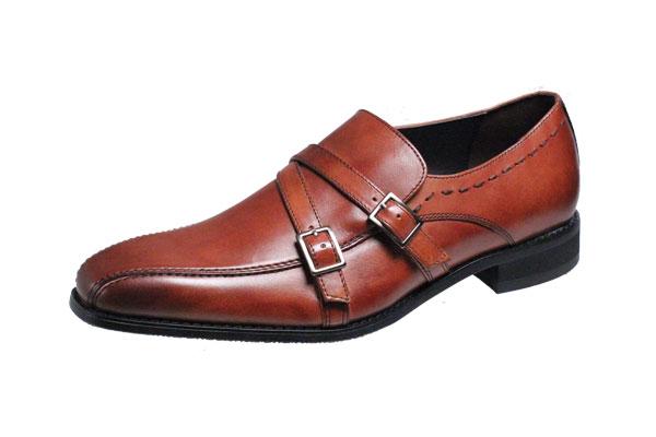 マリオバレンチノ紳士靴MARIO VALENTIBOビジネスシューズ流れスワールモカ折返しベルト付スリッポン3037ライトブラウン