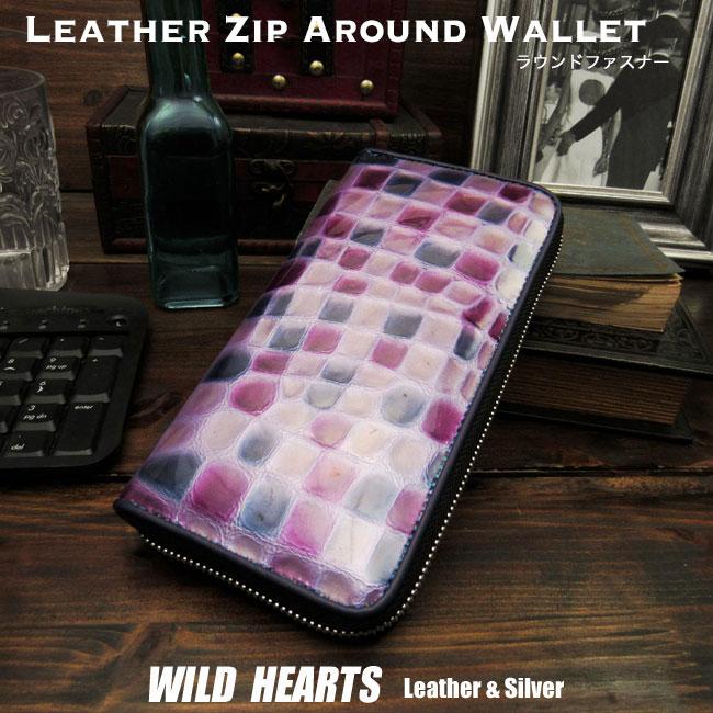 ステンドレザー 長財布 財布 レディース ステンドグラスレザー 牛革 ラウンドファスナー Stained Glass Leather Zip Around Wallet PurseWILD HEARTS Leather&Silver (ID rw4085r7)