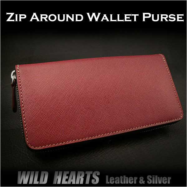 送料無料!長財布 型押しレザー ラウンドファスナー 財布 Leather Zip Around Wallet Purse WILD HEARTS Leather&Silver (ID lw2882)