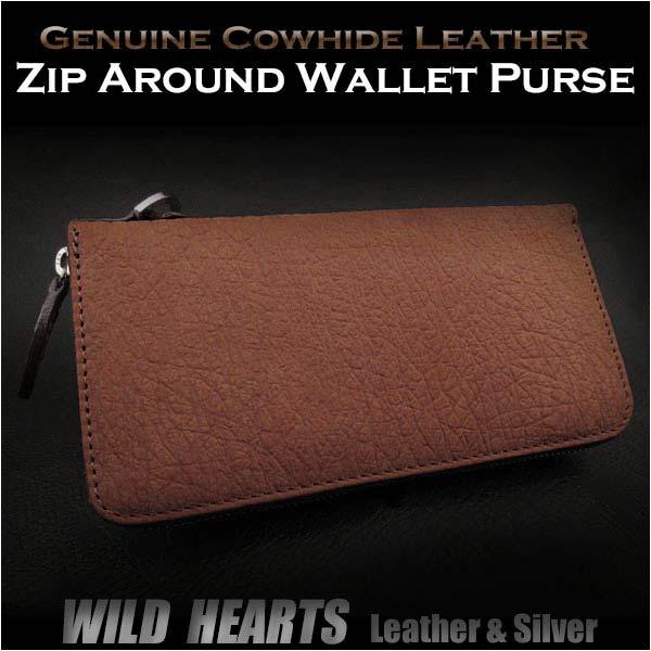 送料無料 象革型押し 長財布 ラウンドファスナー財布 財布 サドルレザー Leather Zip Around Wallet Purse Light Brown WILD HEARTS Leather&Silver (ID rw3083)