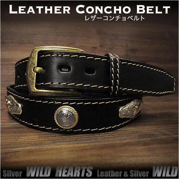 コンチョベルト ウエスタンベルト レザーベルト 牛革/レザー サドルレザー バックル付き ブラック/黒Genuine Leather Concho Belt Biker Belt Pin Buckle BlackWILD HEARTS Leather&Silver (ID lb3767t40)