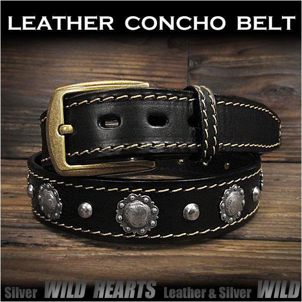 コンチョベルト ウエスタンベルト レザーベルト 牛革/レザー サドルレザー バックル付き ブラック/黒 Genuine Leather Concho Belt Biker Belt Pin Buckle BlackWILD HEARTS Leather&Silver (ID lb3771t40)