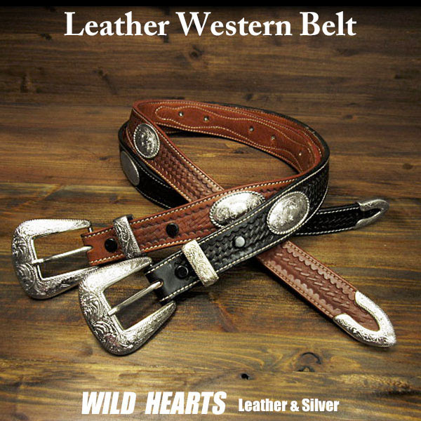 Ladies Womens Concho Belt Leather Western Brown Black WILD HEARTS LeatherSilver ID Belt3805r23