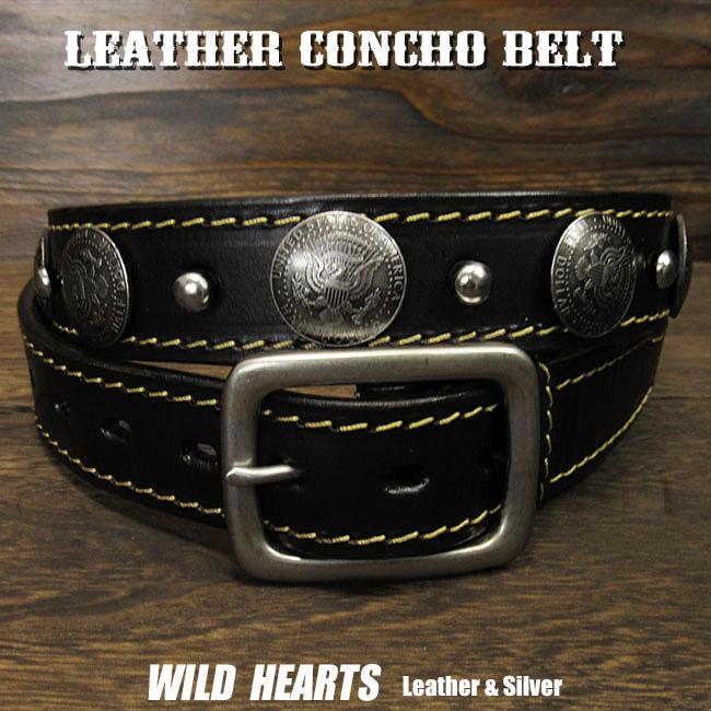 コンチョベルト ウエスタンベルト レザーベルト 牛革/レザー サドルレザー バックル付き ブラック/黒 Genuine Leather Concho Belt Biker Belt Pin Buckle BlackWILD HEARTS Leather&Silver (ID lb3911t40)