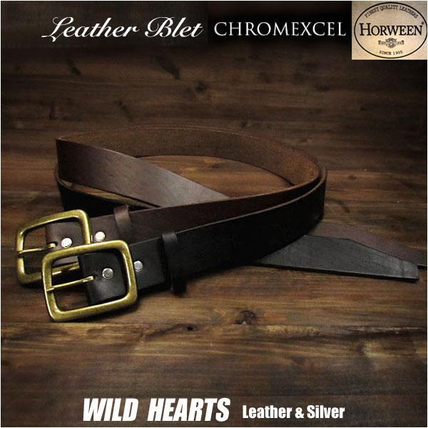 メンズ  ベルト 本革 Horween ヌメ革 サドルレザー ハンドメイド ブラウン/ブラック Horween Chromexcel Leather Belt Pin Buckle Brown/BlackWILD HEARTS Leather&Silver (ID horweenbelt_t57)
