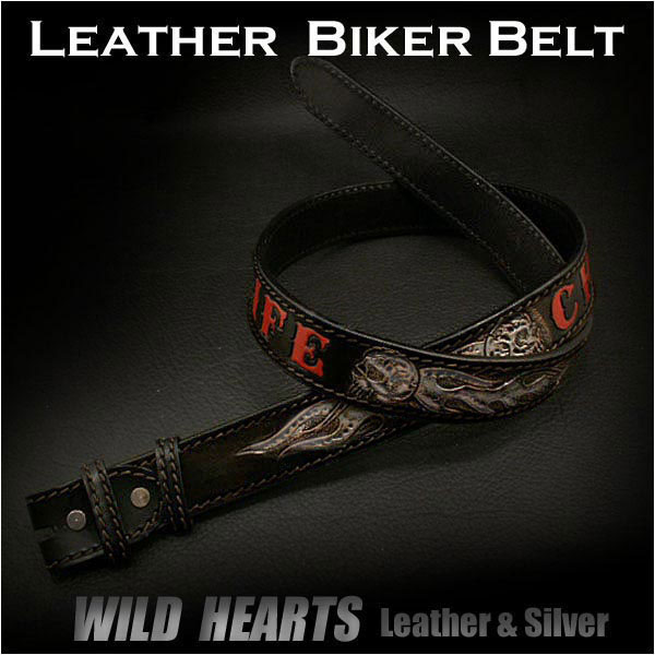 レザーベルト カービングベルト バイカー 牛革 サドルレザー Hand Carved Leather Biker Belt Choppers WILD HEARTS Leather & Silver(ID lb1267t33)