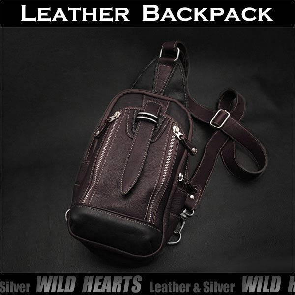 ボディバッグ 斜めがけバッグ リュック レザー/牛革 ワンショルダーバッグGenuine Leather Backpack Shoulder Sling BagWILD HEARTS Leather&Silver (ID bb3160t43)