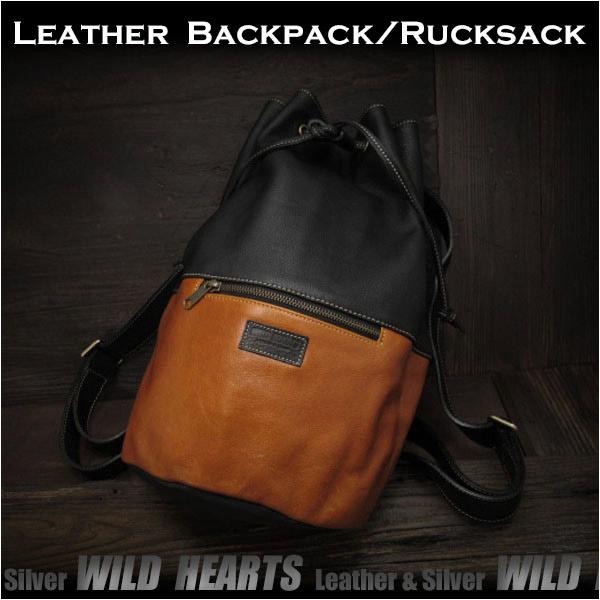 ボディバッグ 巾着型 リュック/バッグ バックパック  レザー/牛革 Genuine Cowhide Leather Travel Backpack Rucksack Shoulder Bag Gym Bag School BagWILD HEARTS Leather&Silver (ID bb3292b6)