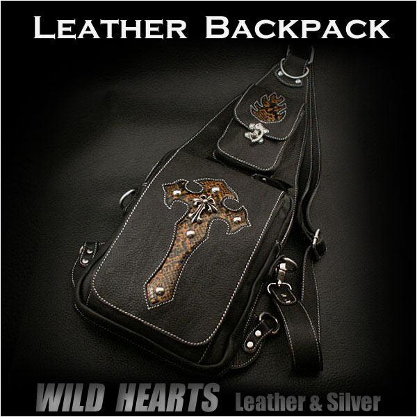ワンショルダーバッグ ボディバッグ レザー 本革 パイソン柄 クロス Genuine Leather backpack shoulder sling bag travel bagWILD HEARTS Leather&Silver (IDbb0821t42)