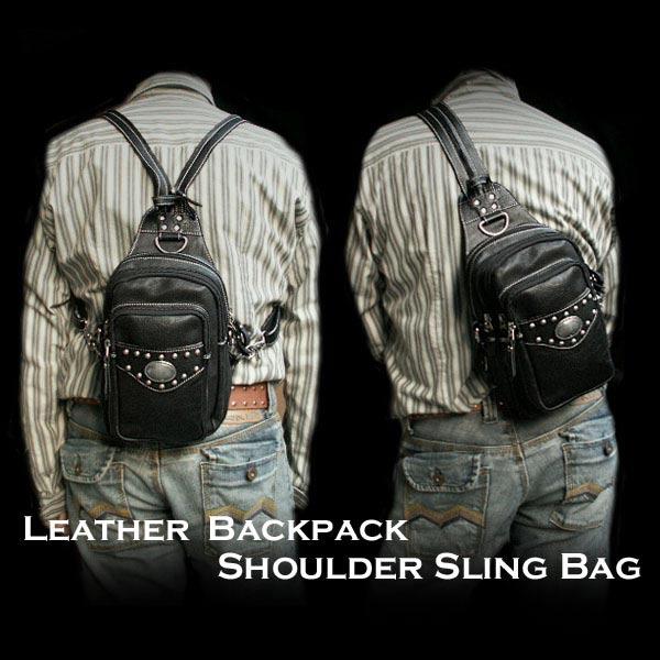 2 웨이 가방 배낭 어깨 가방 진짜 가죽 어깨 슬링 가방2-WAY Bag Backpack or Shoulder Bag Genuine Leather Shoulder Sling Bag WILD HEARTS Leather&Silver( Item ID bb2569t52)