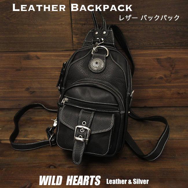 ワンショルダーバッグ ボディバッグ 斜めがけショルダーバッグ レザー/本革 リュック 2WAY ブラックLeather Backpack Travel Shoulder Sling Chest Bag 2-WAY BlackWILD HEARTS Leather&Silver (ID bb2100t11)