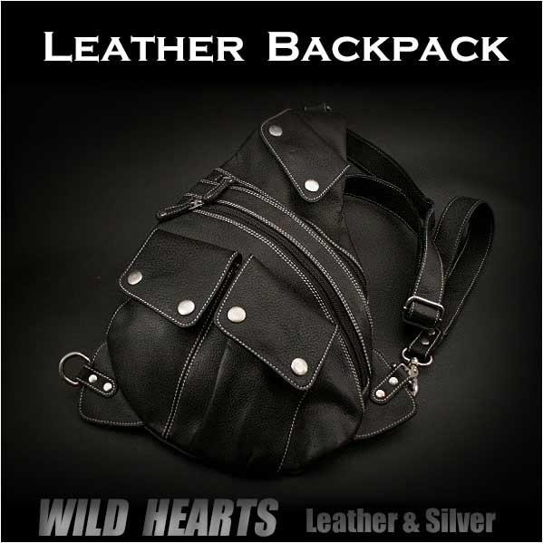 レザーボディバッグ ワンショルダーバッグ レザー リュック 斜めがけバッグ 牛革/ヌメ革/黒色 Genuine Cowhide Leather Backpack Shoulder Sling Travel Bag shoulder purse BlackWILD HEARTS Leather&Silver (ID bb2830t19)