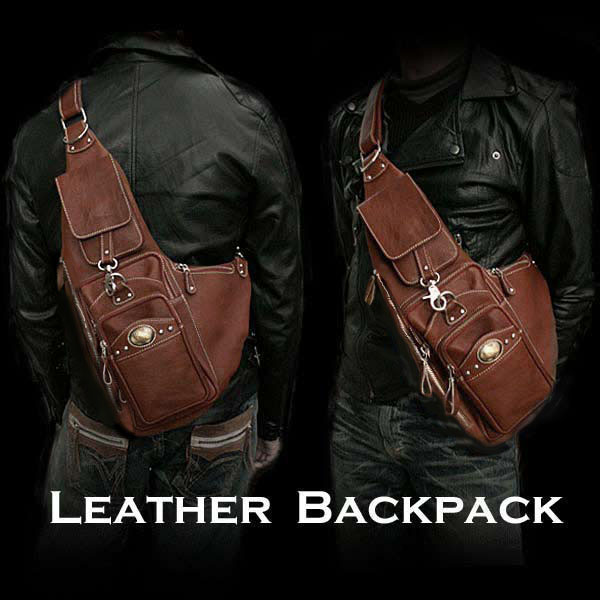 94a9aca1e2 Genuine Leather Backpack Shoulder Sling Bag Brown WILD HEARTS  Leather Silver (Item ID bb2112t21)